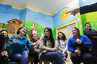 LECCE, ITALY - 10 NOVEMBER 2016: Female inmates and aspiring sommeliers attend a lecture on the arts and crafts of wine tasting and serving, in the largest penitentiary in the southern Italian region of Apulia, holding 1,004 inmates in the outskirts of Lecce, Italy, on November 10th 2016.<br /> <br /> Here a group of ten high-security female inmates and aspiring sommeliers , some of which are married to mafia mobsters or have been convicted for criminal association (crimes carrying up to to decades of jail time), are taking a course of eight lessons to learn how to taste, choose and serve local wines.<br /> <br /> The classes are part of a wide-ranging educational program to teach inmates new professional skills, as well as help them develop a bond with the region they live in.<br /> <br /> Since the 1970s, Italian norms have been providing for reeducation and a personalized approach to detention. However, the lack of funds to rehabilitate inmates, alongside the chronic overcrowding of Italian prisons, have created a reality of thousands of incarcerated men and women with little to do all day long. Especially those with a serious criminal record, experts said, need dedicated therapy and professionals who can help them.