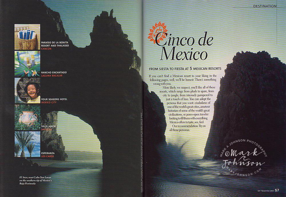 Delta Airlines Sky magazine-main photo of El Arco, Cabo San Lucas, Baja California Sur, Mexico