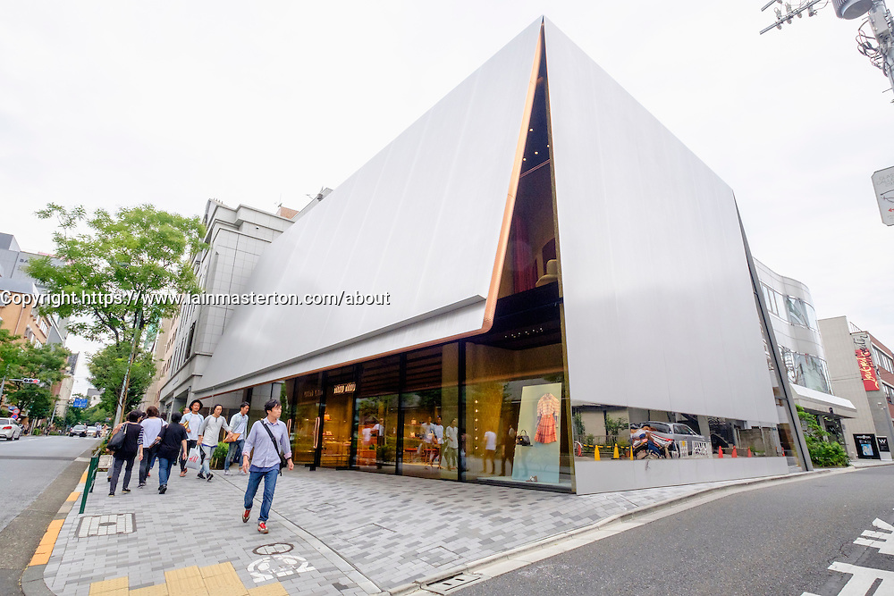 Modern architecture of fashion boutique Miu Miu in upmarket Toyama district of Tokyo Japan