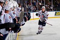 KELOWNA, BC - OCTOBER 12:  Connor Zary #18 of the Kamloops Blazers skates to the bench to celebrate a second period goal against the Kelowna Rockets at Prospera Place on October 12, 2019 in Kelowna, Canada. (Photo by Marissa Baecker/Shoot the Breeze)