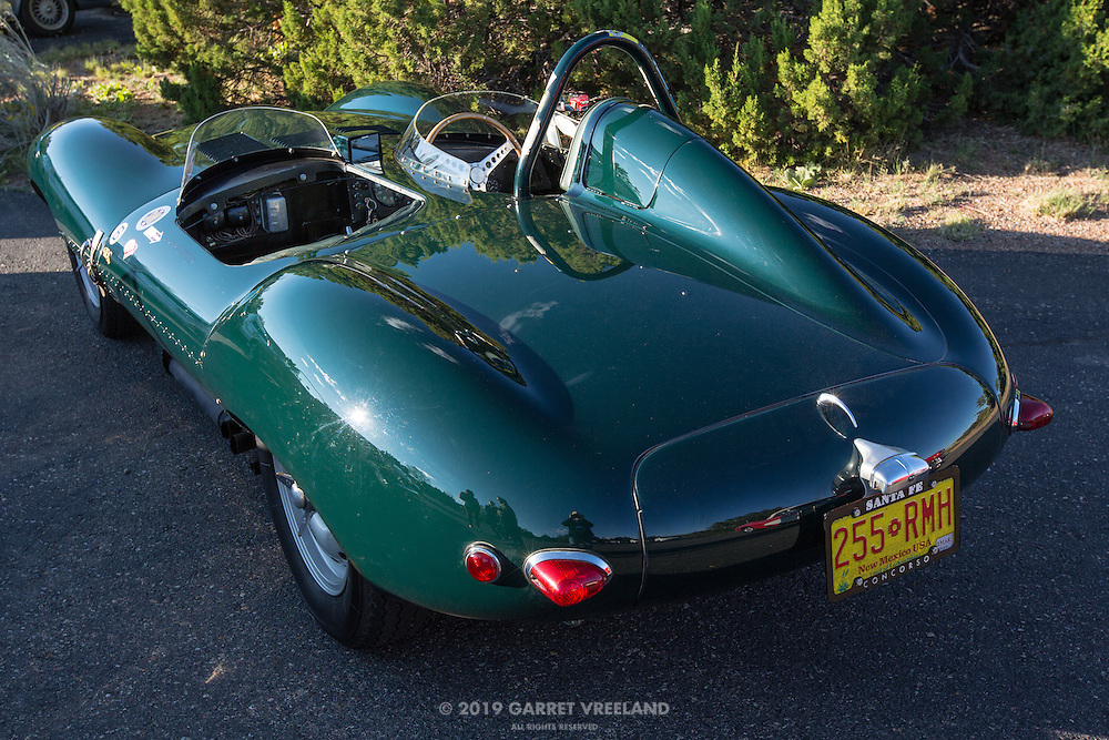 Rear view of the '56 Jaguar D-type, on the 2012 Santa Fe Concorso High Mountain Tour.