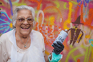 07/09/2015 - Lisbon, Portugal: Isaura Santos Costa, 90, during the workshop Lata 65. Lata 65 was project created by Lara Seixo Rodrigues and is a creative workshop teaching street art to senior citizens. (Eduardo Leal)