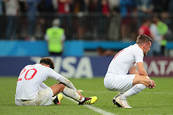July 11, 2018 - Moscow, U.S. - MOSCOW, RUSSIA - JULY 11: Forward Raheem Sterling of England National team and Forward Jamie Vardy of England National team at the end of  the semifinal match between Croatia and England at the FIFA World Cup on July 11, 2018 at the Luzhniki Stadium  in Moscow, Russia. (Photo by Anatoliy Medved/Icon Sportswire) (Credit Image: © Anatoliy Medved/Icon SMI via ZUMA Press)