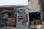Turkey. Istambul. The Wooden Houses of Suleymaniye, decaying area where refugees are living