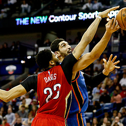 Dec 21, 2016; New Orleans, LA, USA;  New Orleans Pelicans forward Anthony Davis (23) blocks a shot by Oklahoma City Thunder center Enes Kanter (11) during the second quarter of a game at the Smoothie King Center. Mandatory Credit: Derick E. Hingle-USA TODAY Sports