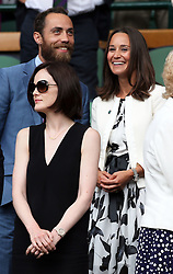 Image ©Licensed to i-Images Picture Agency. 26/06/2014. London, United Kingdom. Michelle Dockery and Pippa and James Middleton in the Royal Box on day four of the Wimbledon Tennis Championships. Picture by Stephen Lock / i-Images