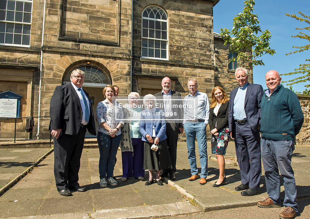 Environment Secretary, Roseanna Cunningham MSP, was in Portobello today to meet the Action Porty community right-to-buy group to mark the Scottish Government giving consent to proceed with the first community right to buy in an urban area. Pictured: Action Porty committeee members with local MSP Ash Denham MSP and Rev Dr George Whyte, Church Commissioners<br /> © Jon Davey/ EEm