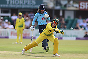 Alyssa Healy of Australia (77) takes a wild throw during the Royal London Women's One Day International match between England Women Cricket and Australia at the Fischer County Ground, Grace Road, Leicester, United Kingdom on 4 July 2019.