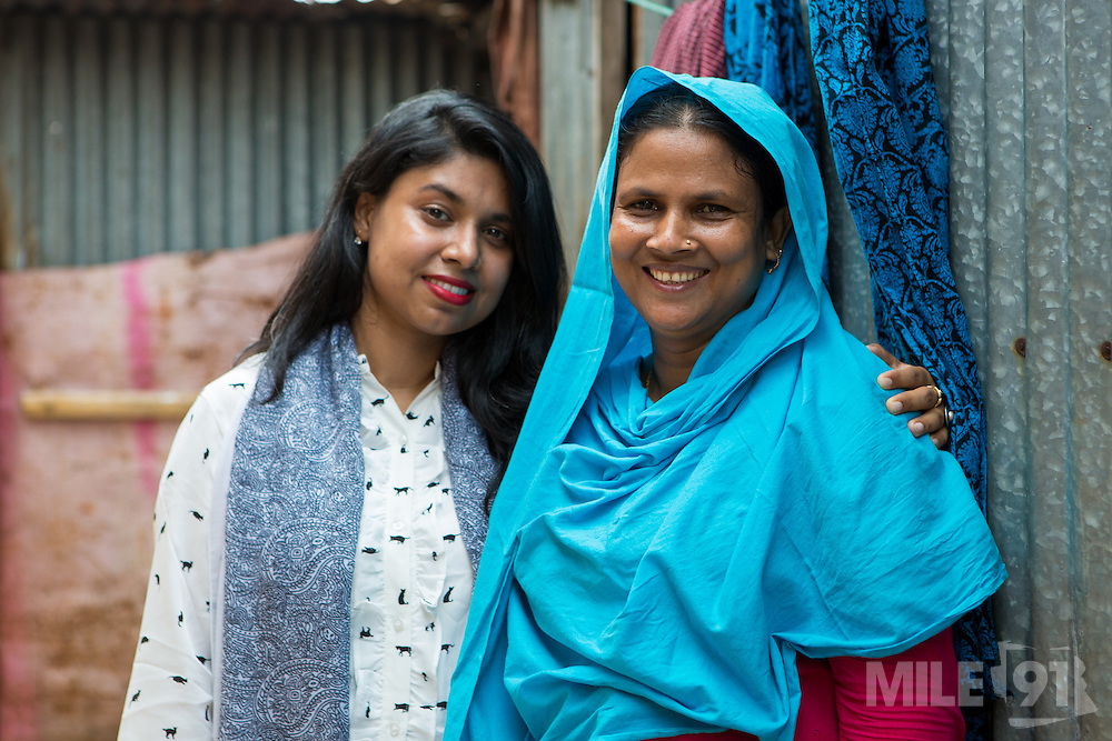 Waliza Farhana (left) with Kohinur (right) who is a garment worker.<br /> <br /> Waliza is project manager for the BRAC microfinance, financial diaries project. This programme improves the financial literacy of garment workers.