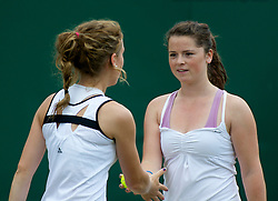 LONDON, ENGLAND - Wednesday, June 29, 2011: Sarah Beth Askew (GBR) and Pippa Horn (GBR) during the Girls' Doubles 1st Round match on day nine of the Wimbledon Lawn Tennis Championships at the All England Lawn Tennis and Croquet Club. (Pic by David Rawcliffe/Propaganda)