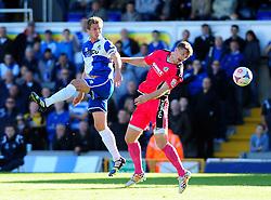 Bristol Rovers' Lee Mansell heads past Dover Athletic's Matt Lock - Photo mandatory by-line: Neil Brookman - Mobile: 07966 386802 - 04/10/2014 - SPORT - Football - Bristol - Memorial Stadium - Bristol Rovers v Dover - Vanarama Football Conference