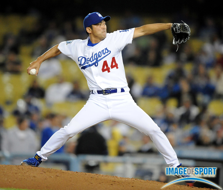 Apr 16, 2008; Los Angeles, CA, USA; Los Angeles Dodgers reliever Takashi Saito (44) pitches in the ninth inning of 8-1 victory over the Pittsburgh Pirates at Dodger Stadium.