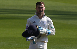 April 20, 2018 - London, Greater London, United Kingdom - Lewis McManus of Hampshire ccc  .during Specsavers County Championship - Division One, day one match between Surrey CCC and Hampshire CCC at Kia Oval, London, England on 20 April 2018. (Credit Image: © Kieran Galvin/NurPhoto via ZUMA Press)