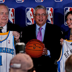 April 16, 2012; New Orleans, LA, USA; New Orleans Hornets and Saints owner Tom Benson and his wife Gayle Benson and NBA commissioner David Stern hold Hornets jerseys at press conference announcing ownership to the Benson's at the New Orleans Arena.   Mandatory Credit: Derick E. Hingle-US PRESSWIRE