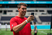 Cameron Brate (TE, Tampa Bay Buccaneers) at the NFL Academy stadium showcase during the NFL Media Day held at Tottenham Hotspur Stadium, London, United Kingdom on 2 July 2019.