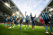 STOCKHOLM, SWEDEN - MAY 17: Tinotenda Kadewere of Djurgardens IF and team mates celebrates after the victory during the Allsvenskan match between Djurgardens IF and Orebro SK at Tele2 Arena on May 17, 2018 in Stockholm, Sweden. Photo by Nils Petter Nilsson/Ombrello ***BETALBILD***