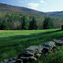 A field in the rolling hills of the Green Mountains in southern Vermont.  Hills in the distance are part of the TPL purchase. Stone wall.  Wardsboro, VT