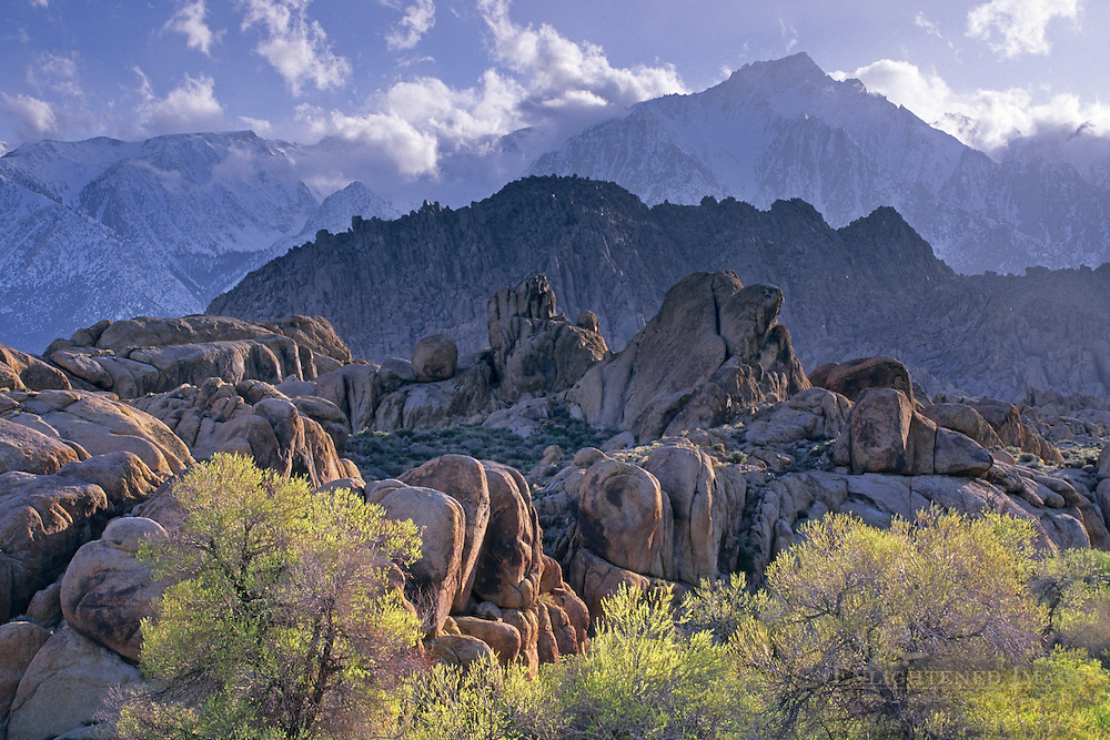 Spring storm clouds over Lone Pine Peak and mountains over the Alabama Hills, near Lone Pine, Eastern Sierra, California