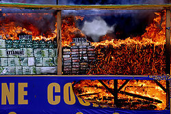 June 26, 2017 - Yangon, Myanmar - Myanmar authorities ceremonially burn 25 kinds of seized narcotic drugs in Yangon on Monday to mark the International Day against Drug Abuse and Illicit Trafficking.  (Credit Image: © U Aung/Xinhua via ZUMA Wire)