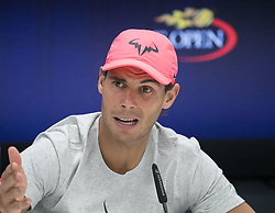 September 8, 2017 - Flushing Meadows, New York, U.S - Rafael Nadal during a press conference after defeating Juan Martin del Potro in Semifinal game on Day Twelve of the 2017 US Open at the USTA Billie Jean King National Tennis Center on Friday September 8, 2017 in the Flushing neighborhood of the Queens borough of New York City.  Nadal defeats del Potro. Nadal defeats del Potro, 4-6, 6-0, 6-3, 6-2. (Credit Image: © Prensa Internacional via ZUMA Wire)