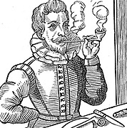 Walter Raleigh (1552-1612) English courtier and navigator. Favourite of Elizabeth I. Half-brother of Humphrey Gilbert. Said to have introduced Tobacco and Potatoes into England. 19th century woodcut.