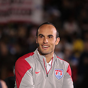 Landon Donovan, USA, talks on live television during his farewell match during the USA Vs Ecuador International match at Rentschler Field, Hartford, Connecticut. USA. 10th October 2014. Photo Tim Clayton