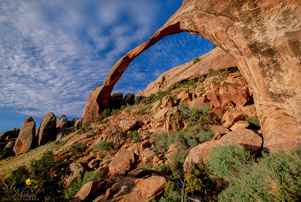 Landscape arch with clouds