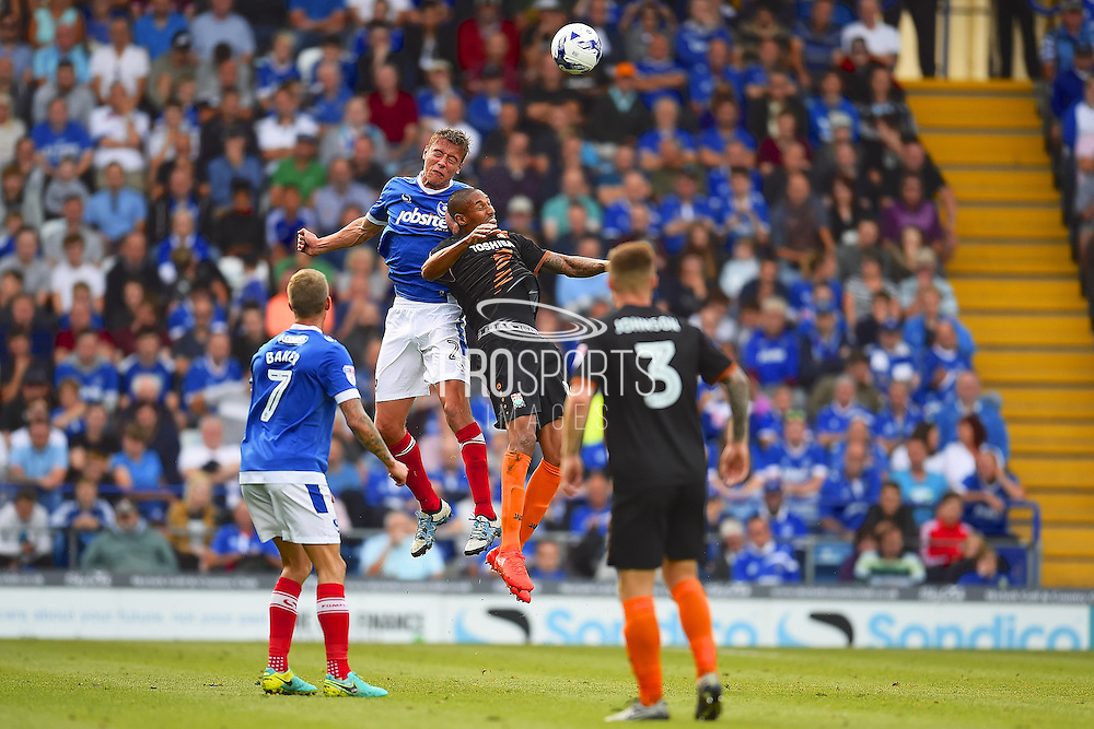 Portsmouth Tom Davies fights for a long ball  during the EFL Sky Bet League 2 match between Portsmouth and Barnet at Fratton Park, Portsmouth, England on 24 September 2016. Photo by Ian  Muir. during the EFL Sky Bet League 2 match between Portsmouth and Barnet at Fratton Park, Portsmouth, England on 24 September 2016. Photo by Ian  Muir.