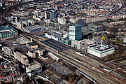 Nederland, Noord-Brabant, Eindhoven, 07-03-2010; stationsgebied in de binnenstad, Centraal Station met omgeving, onder andere 17 en 18 Septemberplein, Vestdijk en Vestdijktunnel..Downtown area with central station and immediate environment..luchtfoto (toeslag), aerial photo (additional fee required).foto/photo Siebe Swart