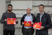 Des Hoar, Cabinet Office, Max Glover, Cabinet Office and Julian Sharpe, UX Export Finance, 1 Horse Guards Road. PCS members working in the civil service are holding a short, high profile protest to demonstrate about the continued 1% pay cap public sector pay cap that has been in place for 7 years.Westminster,  London,  United Kingdom. (Photo by Andy Aitchison / PCS)
