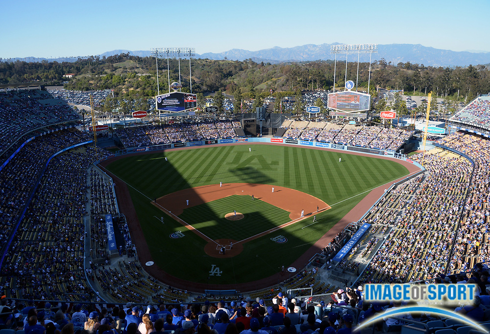 Apr 6, 2014; Los Angeles, CA, USA; General view of the MLB game between the San Francisco Giants and the Los Angeles Dodgers at Dodger Stadium.