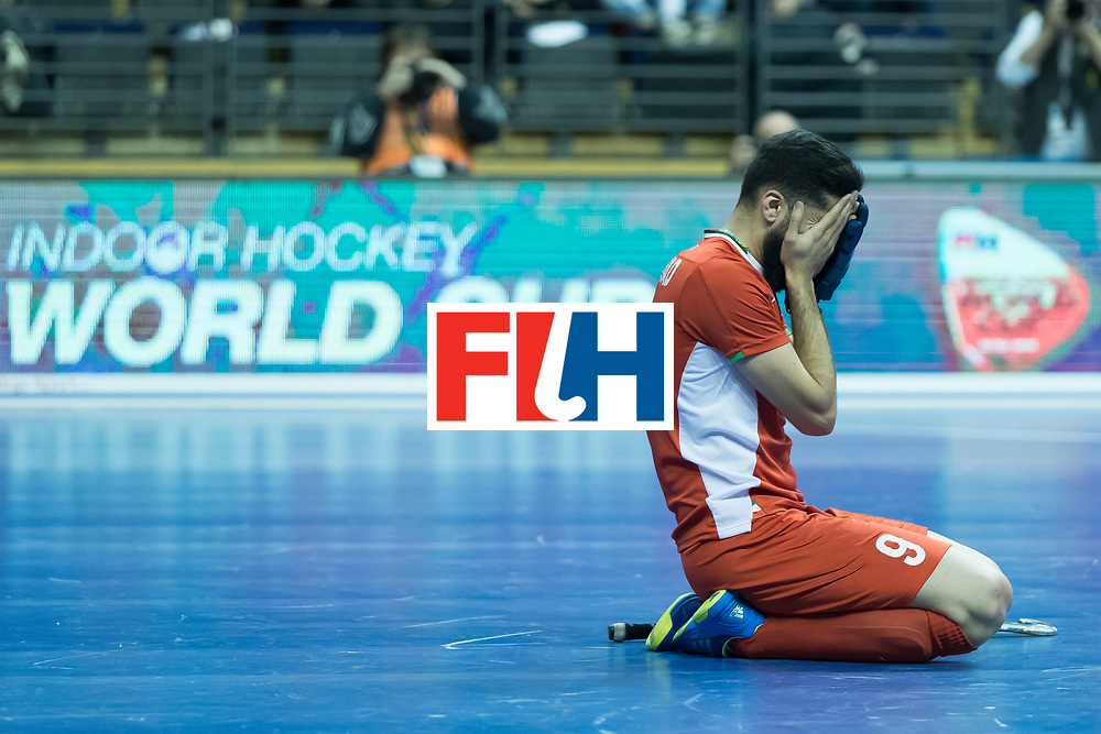 Hockey, Seizoen 2017-2018, 09-02-2018, Berlijn,  Max-Schmelling Halle, WK Zaalhockey 2018 MEN, Iran - Czech Republic 2-2 Iran Wins after shoutouts, Navid Taherirad after Iran reach the semi finals.