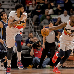 Jan 7, 2019; New Orleans, LA, USA; New Orleans Pelicans forward Julius Randle (30) and forward Anthony Davis (23) run the court against the Memphis Grizzlies during the second half at the Smoothie King Center. Mandatory Credit: Derick E. Hingle-USA TODAY Sports