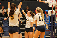 October 31, 2018 - Johnson City, Tennessee - Brooks Gym:  ETSU libero Marija Popovic (9), ETSU setter Alyssa Kvarta (12)<br /> <br /> Image Credit: Dakota Hamilton/ETSU