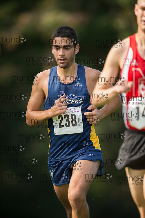 Matt Travaglini of the Windsor Lancers runs at the 2014 Western International Cross country meet in London Ontario, Saturday,  September 20, 2014.<br /> Mundo Sport Images/ Geoff Robins