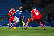 Chesterfield FC miffielder Jay O'Shea wins the ball during the Sky Bet League 1 match between Chesterfield and Swindon Town at the Proact stadium, Chesterfield, England on 28 November 2015. Photo by Aaron Lupton.