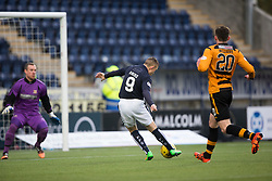 Falkirk's John Baird scoring their first goal. <br /> half time : Falkirk 3 v 0 Alloa Athletic, Scottish Championship game played at The Falkirk Stadium.