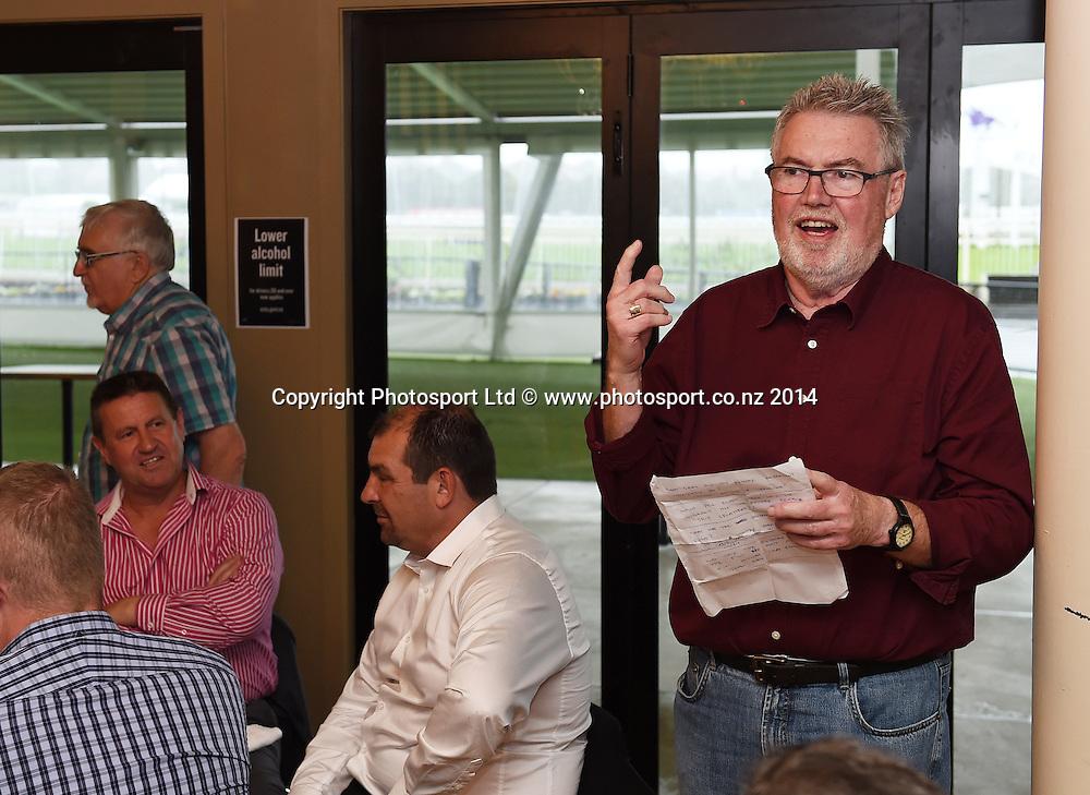 Phil Gifford. Mad Butcher Xmas Luncheon, Ellerslie Racecourse. Wednesday 17 December 2014. Photo: Andrew Cornaga / www.photosport.co.nz