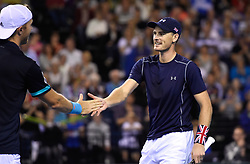Great Britain's Jamie Murray celebrates after winning his doubles match during day two of the Davis Cup match at Emirates Arena, Glasgow. PRESS ASSOCIATION Photo. Picture date: Saturday September 15, 2018. See PA story TENNIS Davis Cup. Photo credit should read: Ian Rutherford/PA Wire. RESTRICTIONS: Editorial use only, No commercial use without prior permission