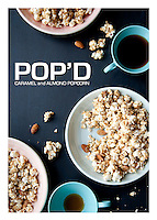 The front side of a recipe card for Caramel Almond Popcorn  created by St. Louis Photographer Jonathan Gayman.