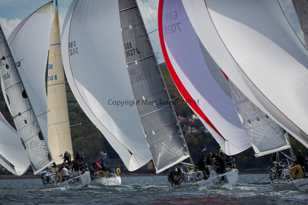 RWYC's Savills Kip Regatta  9-10th May 2015 <br /> Excellent conditions for the opening racing of the Clyde Season<br /> <br /> Class 2's spinnakers frame GBR3627L, Animal, sailed by Kevin Aitken<br /> <br /> Credit : Marc Turner / PFM