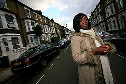 UK ENGLAND LONDON 12NOV08 - Presenter Nana Akua stands in a residential street in Shepherd's Bush, west London. She is one of many leasehold property owners struggling to sell due to the credit crunch and the resultant lower property values across the UK...jre/Photo by Jiri Rezac..© Jiri Rezac 2008..Contact: +44 (0) 7050 110 417.Mobile:  +44 (0) 7801 337 683.Office:  +44 (0) 20 8968 9635..Email:   jiri@jirirezac.com.Web:    www.jirirezac.com..© All images Jiri Rezac 2008 - All rights reserved.