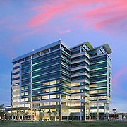 Brian Paul (BPA Architecture) designed the remarkable Sunroad project in San Diego, California for real-estate developer Sunroad Enterprises. It's a twelve-story class A office building drawing visual inspiration - in the form of an aluminum wing - from nearby municipal airport.