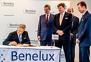 BRUSSEL - Koning Filip der Belgen, Groothertog Henri van Luxemburg en Koning Willem-Alexander  tijdens de viering van de zestigste verjaardag van het samenwerkingsverband tussen Nederland, Belgie en Luxemburg (Benelux). ANP ROYAL IMAGES ROBIN UTRECHT