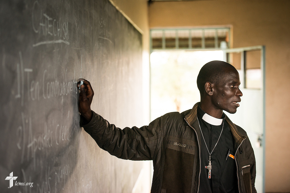 The Rev. Edwin Ogutta of the Mamboleo parish leads catechism class at the Tumaini ELCK (Evangelical Lutheran Church in Kenya) Project 24 boarding facility on Sunday, Oct. 18, 2015, in Kisumu, Kenya. LCMS Communications/Erik M. Lunsford