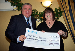LIVERPOOL, ENGLAND - Friday, November 26, 2010: Ronnoe Goodlass and Barclays' Sharon Rothwell during a Health Through Sport Charity Dinner at the Devonshire House. (Photo by David Rawcliffe/Propaganda)