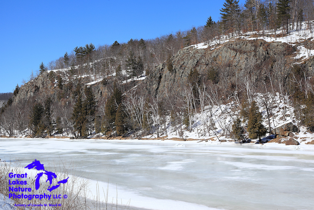 Heading back into Wisconsin on my return from the Keweenaw in 2014, I stopped in Niagara, Wisconsin, to capture this shot of the Niagara Cliffs, which stand along side a very frozen Menominee River.