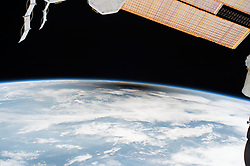 August 21, 2017 - U.S. - Moon's shadow from International Space Station. A total solar eclipse swept across a narrow portion of the contiguous United States from Lincoln Beach, Oregon to Charleston, South Carolina. A partial solar eclipse was visible across the entire North American continent along with parts of South America, Africa, and Europe. (Credit Image: ? NASA via ZUMA Wire/ZUMAPRESS.com)