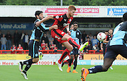 Matt Harrold controls the loose ball during the Sky Bet League 2 match between Crawley Town and Wycombe Wanderers at the Checkatrade.com Stadium, Crawley, England on 29 August 2015. Photo by Michael Hulf.