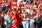 Barnsley forward, on loan from Manchester United, Ashley Fletcher (18) scores a goal and celebrates to make the score 1-0 during the Sky Bet League 1 play off final match between Barnsley and Millwall at Wembley Stadium, London, England on 29 May 2016. Photo by Simon Davies.